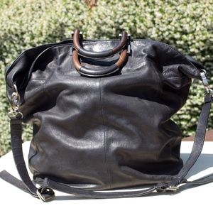 Kenneth Cole Large Black Leather Tote Bag